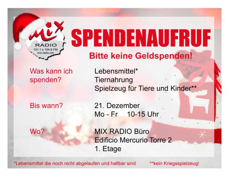Mix Radio Weihnachtsaktion 2017 - Spendenaufruf