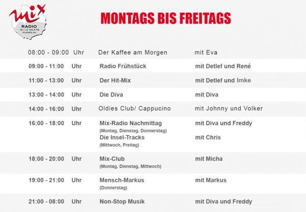 Mix Radio Programm von Montags bis Freitags.