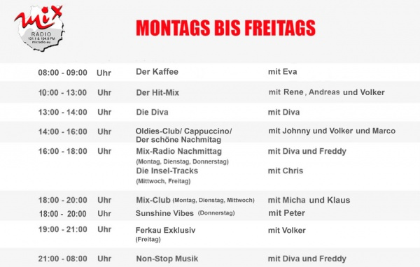 Mix Radio Gran Canaria: Programmübersicht Winter 2019